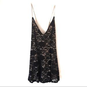 NWOT Black Lace Deep V Dress